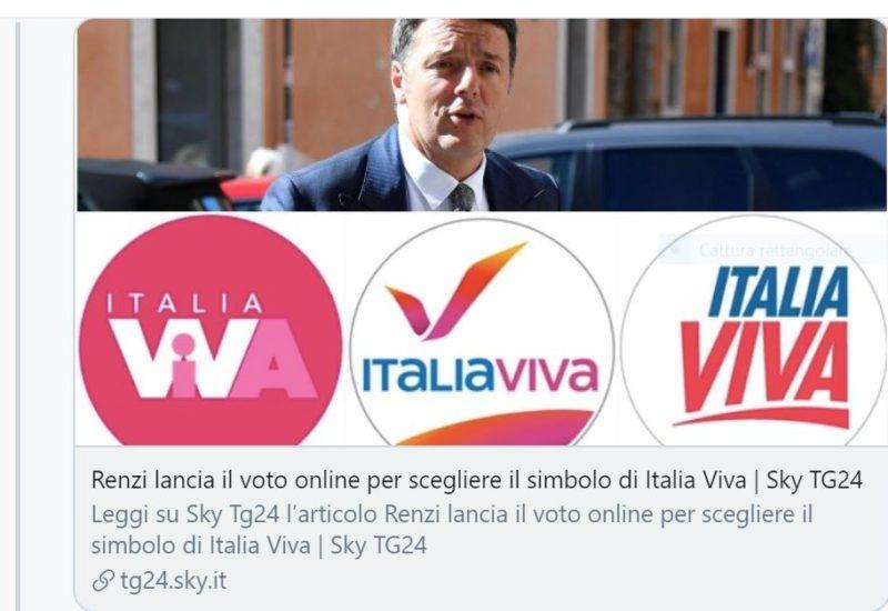 RENZI SVELA IL MISTERO DEL LOGO DI ITALIA VIVA. SI SCEGLIERA' ONLINE