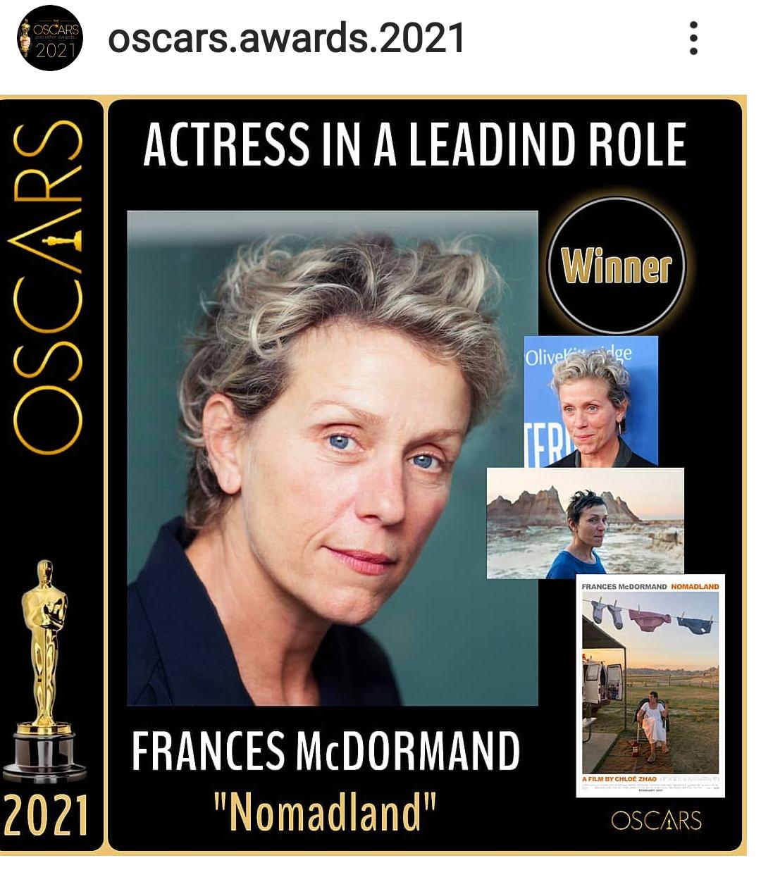 OSCAR 2021: FRANCES MCDORMAND E' LA DONNA D'ORO