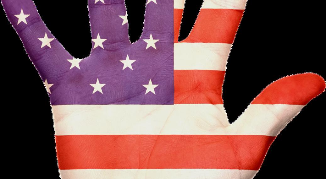 mano usa america bandiera